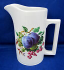 20 Oz Pitcher Water Milk Wood & Sons Alpine White Ironstone Mixed Fruits A++
