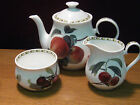 ROSINA/QUEEN'S COLLECTION CHINA HOOKERS FRUIT TEAPOT, CREAMER, & OPEN SUGAR