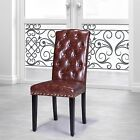 Luxury Comfort Collection Brown Faux Leather Tufted Parson Chairs (Set of 2)