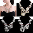 Fashion Jewelry White Crystal Charm Chain Choker Statement Pendant Bib Necklace