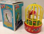 Rare Vintage Yone Made Japan Mechanical Singing Bird In Cage Tin Toy Litho NIB