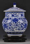 AA Blue and white porcelain vase pot jar painted beautiful flowers free shipping