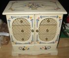 ANTIQUE WOODEN MUSIC JEWELRY BOX CHEST HAND PAINTED MADE IN JAPAN FLORAL DESIGN