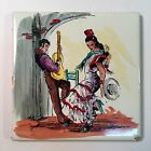 Vintage Hand-Painted Sanchis Spanish Flamenco Gypsy Tile Made in Spain 4-1/4