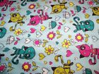 Scribbled Kitty Flowers Snuggle Flannel Fabric1 YardCat Print So Cute