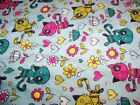 Scribbled Kitty Flowers Snuggle Flannel Fabric1 YardCat Print