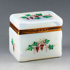 Vintage to Antique Italian Opaline crystal glass trinket Box, hinged lid ormolu