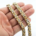 8mm Mens Chain Flat Byzantine Gold Silver Tone Stainless Steel Necklace 20 inch