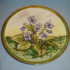 1931 Pottery Handpainted 10 inch diameter Plate With Violets in high glaze