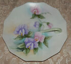 Vintage Porcelain Candle Holder Finger Loop PLATE Vanity Dish Handpainted SIGNED