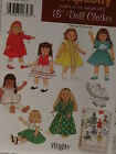 Vintage Style Uncut Simplicity 4347 Doll Clothes Pattern for Size 18