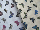 End of Bolts, 2 Yards 100% Cotton Quilting Sewing Butterfly Fabric White