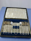 SHEILD FLOWER LEAVES  BRIGHT CUT CASED SET OF 12 TEA COFFEE SPOONS BY ENGLAND