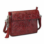 Concealed Carry Cross Body Purse Tooled Leather Left/Right Hand CHERRY GTM-22