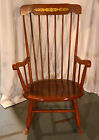 Vintage Maple Wood Rocking Chair w Spindle Back Gold Painted Wheat Floral Motif