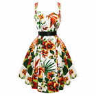 Hearts and Roses London Tropical Flower Print 50s Vintage Summer Tea Dress