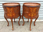 Antique Ornate American French Style Nightstands Carved Inlayed Wood Lamp Table