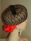 Classic Vint Original Brown~Black-White WOVEN Pillbox Style Hat w/NETTING