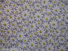 2 Yards 100% Cotton Quilting Sewing Fabric, Daisy 'GRAY'  Free US Shipping