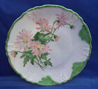 Antique Hand Painted Porcelain Plate Beaded Rim Pink Green Lavender Signed 9.5