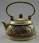 Collectible Decorated Old Handwork Tibet Silver Carved Child Hold Fish Tea Pot