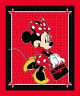 Disney Minnie Mouse Purse Polka Dots Red Large Cotton Fabric Panel