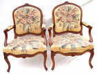 French Louis XV Pair Armchairs Aubusson Tapestry Flowers Carved Cherry Wood