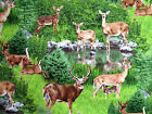 WILDLIFE DEER BUCK DOE SCENIC BTY COTTON QUILT #1373 ELIZABETH'S STUDIO FABRIC