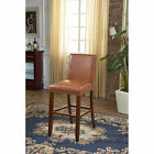 Luxury Sddle Brown  Waxed Texture Faux Leather Barstool with Nail Head