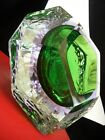 MURANO Scarce 1971 Lilac/Emerald DOUBLE SOMMERSO TEXTURED DIAMOND PRISM VASE  A1