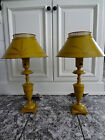 2 RARE VTG ARTS CRAFT MISSION TOLE METAL BRONZE URN 2' TALL ELECTRIC TABLE LAMPS
