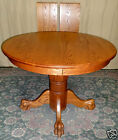 VINTAGE Seely Oak Lion Paw/ Claw Center Pedestal Dining Room Round/Oval Table