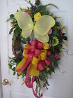 SPRING WREATH Mothers Day Wreath Pink Yellow Summer Door Wreath Free Shipping