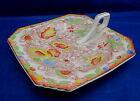 Vintage Antique NAPPY Lemon Dish Tashiro Shoten Japan Orange Yellow Flowers 5.5