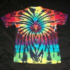 Organic Tie Dye T Shirt Large Rainbow Spider Hand Tye Dyed Hippie Fair Trade