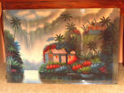 Hawaii Tropical Waterfalls & Huts Landscape 24X36 Oil  Stretched Canvas Painting