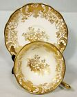 BEAUTIFUL ROYAL ALBERT CROWN CHINA FANCY CUP & SAUCER GOLD GILDED GOLD TRIM