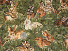 RABBIT PRINT FABRIC-BROWN & GREEN-1 YARD-COTTON-