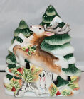 FITZ & FLOYD Woodland Holiday NAPKIN HOLDER NEW Christmas Deer Reindeer Bunny
