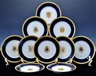 10 GORGOUS FRENCH HAND PAINTED ARMORIAL COBALT GOLD GILT PORCELAIN DINNER PLATES