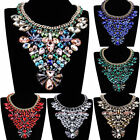 Fashion Handmade Chain Charm Glass Crystal Chunky Choker Statement Bib Necklace
