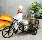 French Bistro Chef Riding On Bicycle Cart Salt And Pepper Shakers Holder Statue