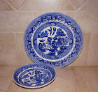 Ridgway Antique Blue Willow dinner plate & berry bowl Semi china