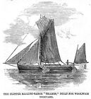 Clipper Sailing Barge, Thames, Built for Woolwich Dockyard - Antique Print 1859