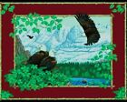 Bald Eagles in the Mountains Large Cotton Fabric Panel