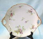 JEAN POUYAT J.P.L. FRANCE  HANDLED SERVING - CAKE PLATE - PINK PURPLE FLOWERS
