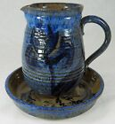 Studio Art Pottery Set STONEWARE PITCHER & BOWL Cat Design Signed SS Blue Brown
