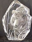 VINTAGE MATS JONASSON SWEDEN FULL LEAD CARVED CRYSTAL TIGER large art rare LQQK