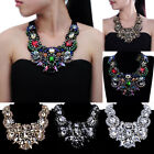 Fashion Chunky Chain Glass White Crystal Choker Statement Pendant Bib Necklace