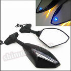Amber Blue LED Turn Signal Integrated Mirrors For Suzuki GSX-R 600 750 Hayabusa
